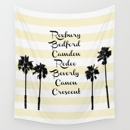 Beverly Hills Street Names Palm Trees Yellow Stripes Wall Tapestry