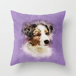 Australian Shepherd - Aussie Puppy Throw Pillow