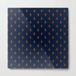 Blue & Orange Fleur-de-Lis Pattern Metal Print