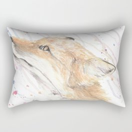 """Watercolor Painting of Picture """"Fox in the Rain"""" Rectangular Pillow"""