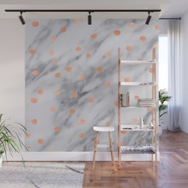 Rose Gold Pink Dots Marble Pattern Wall Mural