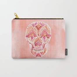 SO LIT SKULL Peach Tribal Watercolor Carry-All Pouch