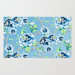 Chinoiserie Ming style Blue Floral Pattern Rug
