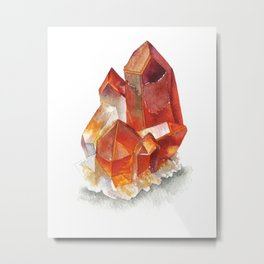 Orange Quartz Cluster Metal Print
