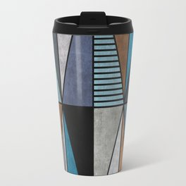 Colorful triangles - blue, grey, brown Travel Mug