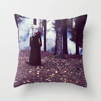 iron maiden Throw Pillows featuring Maiden by Gypsy Moth Sol