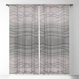 Crashing Waves - Diffuse Muted Ocean Abstract Nature Sheer Curtain
