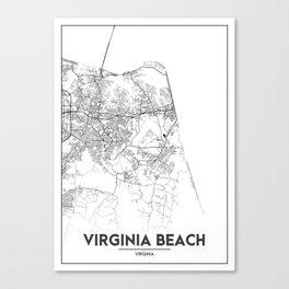 Minimal City Maps - Map Of Virginia Beach, Virginia, United States Canvas Print