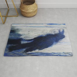 Contemporary Blue Raven Weather Abstract Painting  Rug