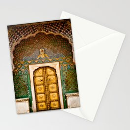 Rose gate door in pink city at City Palace of Jaipur, India Stationery Cards