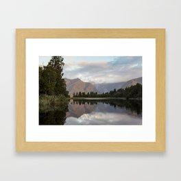 New Zealand Lake at sunset Framed Art Print