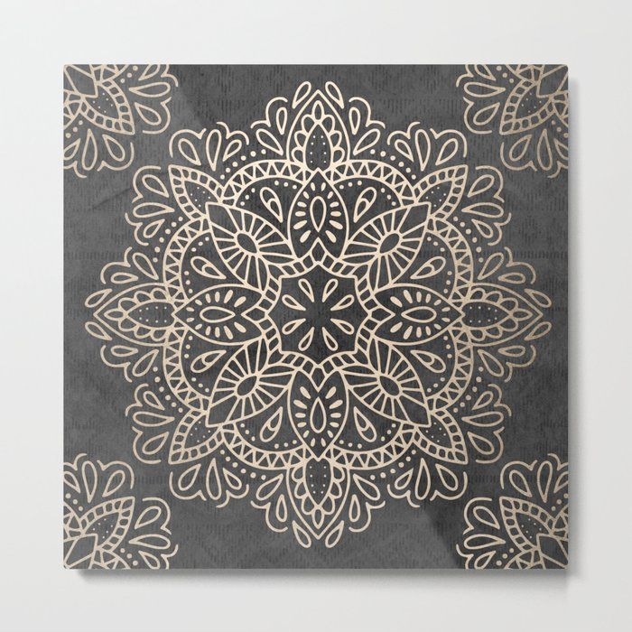 Mandala White Gold on Dark Gray Metal Print