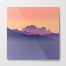 Misty Mountains Orange Sunset  Metal Print