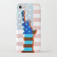 patriots iPhone & iPod Cases featuring statue of liberty / USA by Marta Olga Klara