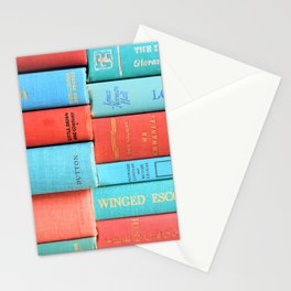 Pink and Aqua Book Stack Stationery Cards