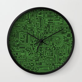 Circuit Board // Light on Dark Green Wall Clock
