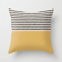 Texture - Black Stripes Gold Throw Pillow