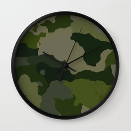 Shades of Green Camo Wall Clock