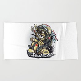 Smoke Skull Driver Moped - Texas cigar Beach Towel