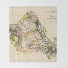 Vintage Map of Oahu Hawaii (1906) Throw Blanket