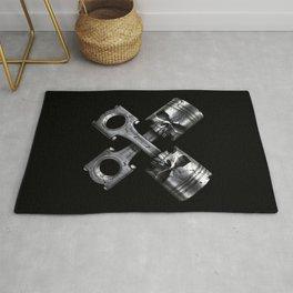 Crossed Piston Skulls Rug