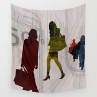 shopping Wall Tapestries featuring People shopping by Design4u Studio