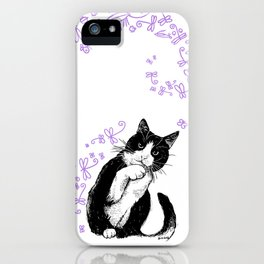 Tuxedo cat and dragonflies iPhone Case