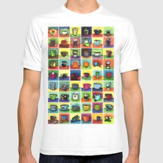 The Daily Coffee Poster MEDIUM Mens Fitted Tee White