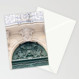 Gorgeous Green Door and Balcony in Paris France Stationery Cards