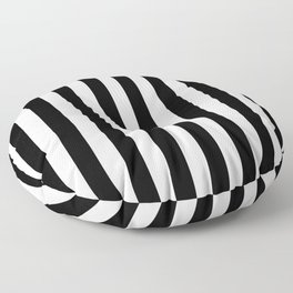 Narrow Vertical Stripes - White and Black Floor Pillow