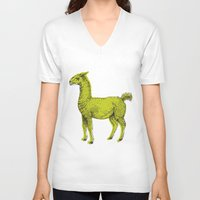 llama V-neck T-shirts featuring llama by youareconstance