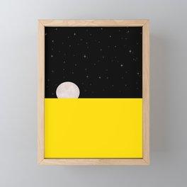 Black night with stars, moon, and yellow sea Framed Mini Art Print