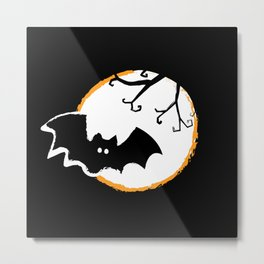 Bat and Moon Metal Print