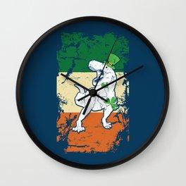 Distressed Irish Flag St Patrick Dinosaur Blue Wall Clock