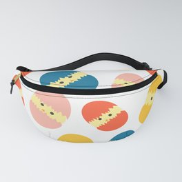 Multi Coloured Easter Eggs with Chicks - Yellow Orange Turquoise Pink Fanny Pack