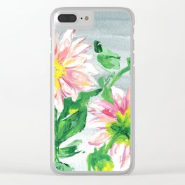 Dahlias for a cloudy day i Clear iPhone Case