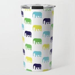 Colorful Elephants Silhouettes Travel Mug