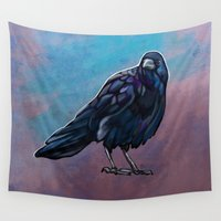 crow Wall Tapestries featuring Crow by Kendra Aldrich