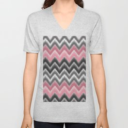 Modern blush pink black geometrical ikat chevron Unisex V-Neck
