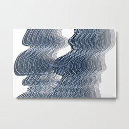 Multiplied Parallel Waves Lines White Lines in Pastel Deep Blue No.: 02 Metal Print