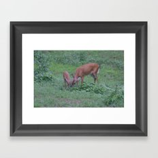 Mom and her baby Framed Art Print
