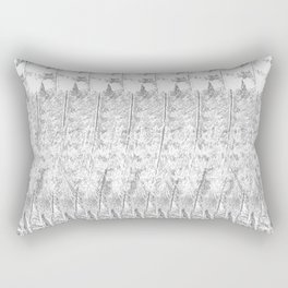 Feather Pattern | Grey and White Rectangular Pillow