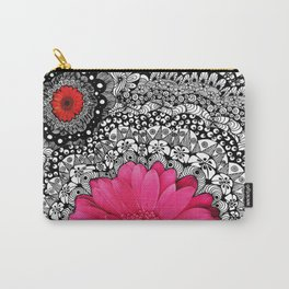 Pink Flower Black White Doodle Art Collage Carry-All Pouch