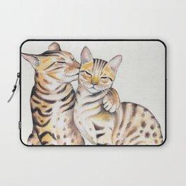 Bengal Cats Love Watercolor Ink Art Laptop Sleeve