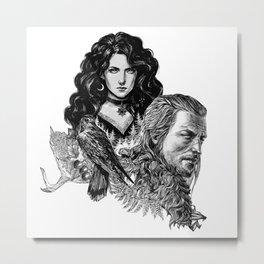 Geralt and Yennefer-Witcher Metal Print