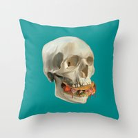 taco Throw Pillows featuring Death By Taco by Fontolia (Katie Blaker)