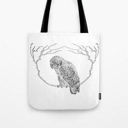 Owl In Tree (Print) Tote Bag