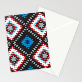 Colorful patchwork mosaic oriental kilim rug with traditional folk geometric ornament. Tribal style Stationery Cards