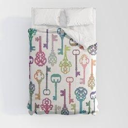 Rainbow Keys on White Comforters