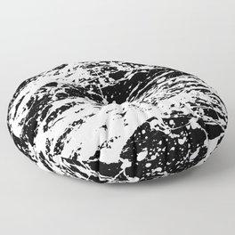 Black and White Paint Splatter Floor Pillow